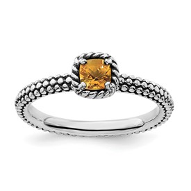Stackable Expressions Sterling Silver Checker-cut Citrine Antiqued Ring