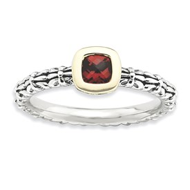 Stackable Expressions Sterling Silver and 14k Checker-cut Garnet Antiqued Ring