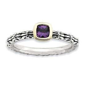 Stackable Expressions Sterling Silver and 14k Checker-cut Amethyst Antiqued Ring