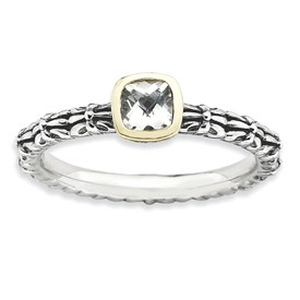 Stackable Expressions Sterling Silver and 14k Checker-cut White Topaz Antiqued Ring