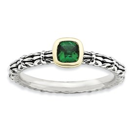 Stackable Expressions Sterling Silver and 14k Checker-cut Created Emerald Antiqued Ring