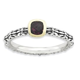 Stackable Expressions Sterling Silver and 14k Checker-cut Rhodolite Garnet Antiqued Ring