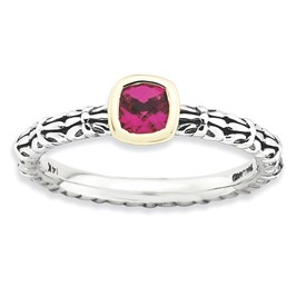 Stackable Expressions Sterling Silver and 14k Checker-cut Created Ruby Antiqued Ring