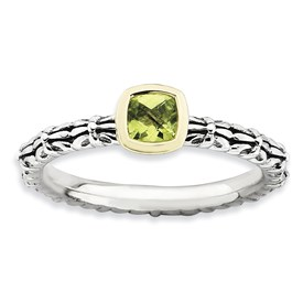 Stackable Expressions Sterling Silver and 14k Checker-cut Peridot Antiqued Ring