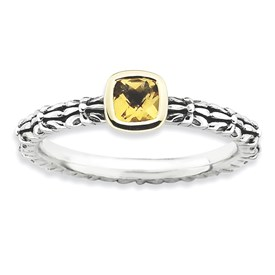 Stackable Expressions Sterling Silver and 14k Checker-cut Citrine Antiqued Ring