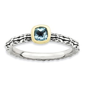 Stackable Expressions Sterling Silver and 14k Checker-cut Blue Topaz Antiqued Ring