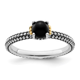 Stackable Expressions Sterling Silver and 14k Onyx Antiqued Ring