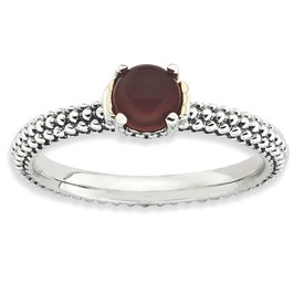 Stackable Expressions Sterling Silver and 14k Red Agate Antiqued Ring