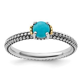 Stackable Expressions Sterling Silver and 14k Turquoise Antiqued Ring