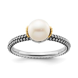 Stackable Expressions Sterling Silver and 14k 7.0-7.5mm White Pearl Ring