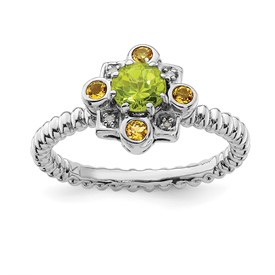 Stackable Expressions Sterling Silver Peridot, Citrine and Diamond Ring