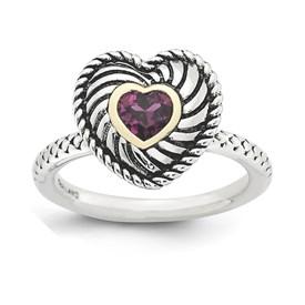 Stackable Expressions Sterling Silver and 14k Rhodolite Garnet Antiqued Ring