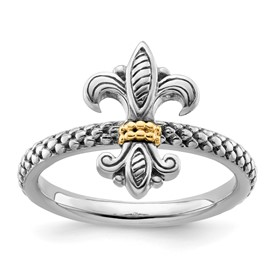 Stackable Expressions Sterling Silver and 14k Antiqued Ring