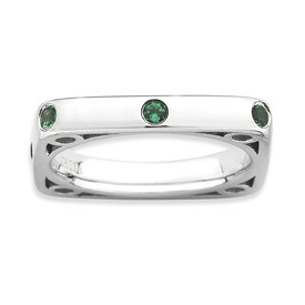 Stackable Expressions Polished Sterling Silver Created Emerald Square Ring