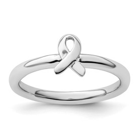Stackable Expressions Sterling Silver Awareness Ribbon Ring