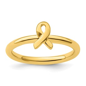 Stackable Expressions Sterling Silver Gold-plated Awareness Ribbon Ring