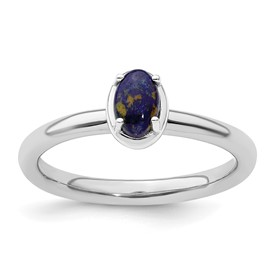 Stackable Expressions Sterling Silver Lapis Polished Ring