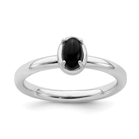Stackable Expressions Sterling Silver Onyx Polished Ring