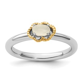 Stackable Expressions Sterling Silver and 14k Moonstone Polished Ring