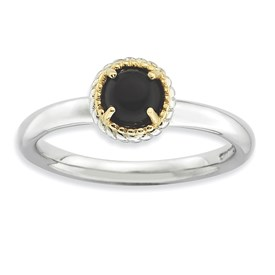 Stackable Expressions Sterling Silver and 14k Onyx Polished Ring