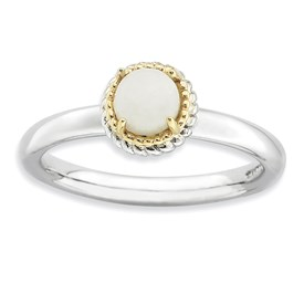 Stackable Expressions Sterling Silver and 14k White Agate Polished Ring
