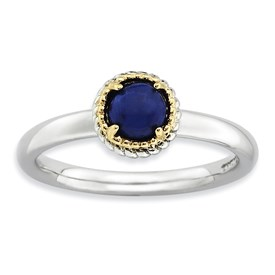 Stackable Expressions Sterling Silver and 14k Lapis Polished Ring