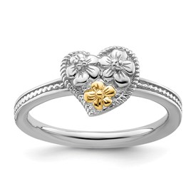 Stackable Expressions Sterling Silver and 14k Diamond Heart Ring