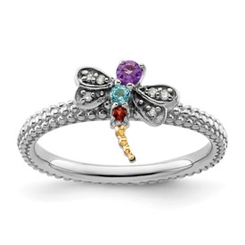 Stackable Expressions Sterling Silver and 14k Gemstone and Diamond Dragonfly Ring