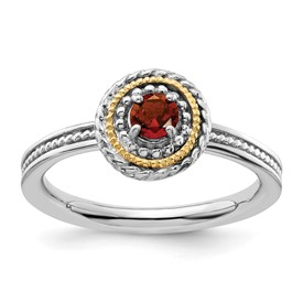 Stackable Expressions Sterling Silver and 14k Garnet Ring