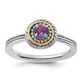 Stackable Expressions Sterling Silver and 14k Amethyst Ring