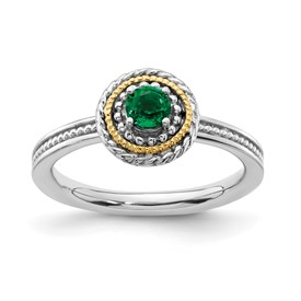 Stackable Expressions Sterling Silver and 14k Created Emerald Ring