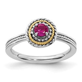 Stackable Expressions Sterling Silver and 14k Created Ruby Ring