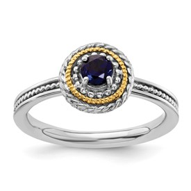 Stackable Expressions Sterling Silver and 14k Created Sapphire Ring