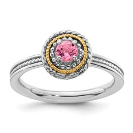 Stackable Expressions Sterling Silver and 14k Pink Tourmaline Ring