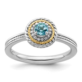 Stackable Expressions Sterling Silver and 14k Blue Topaz Ring