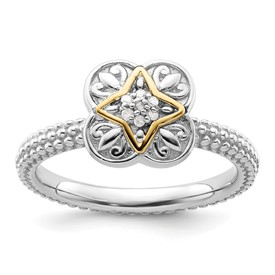 Stackable Expressions Sterling Silver and 14k Diamond Ring