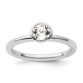 Stackable Expressions Sterling Silver High 5mm April Swarovski Elements Ring