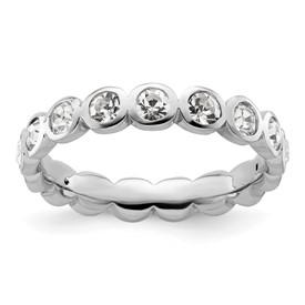 Stackable Expressions Sterling Silver April Swarovski Elements Ring