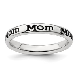 Stackable Expressions Sterling Silver Polished Enameled Mom Ring