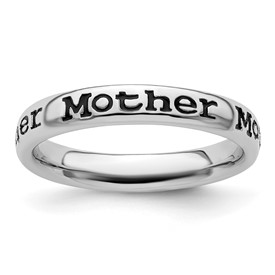 Stackable Expressions Sterling Silver Polished Enameled Mother Ring