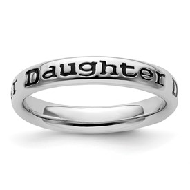 Stackable Expressions Sterling Silver Polished Enameled Daughter Ring