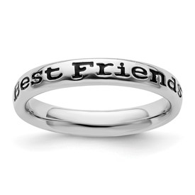 Stackable Expressions Sterling Silver Polished Enameled Friends Ring