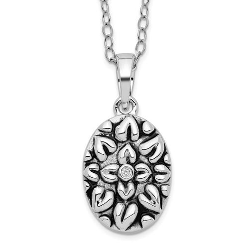 sterling silver synthetic cz antiqued flower ash holder