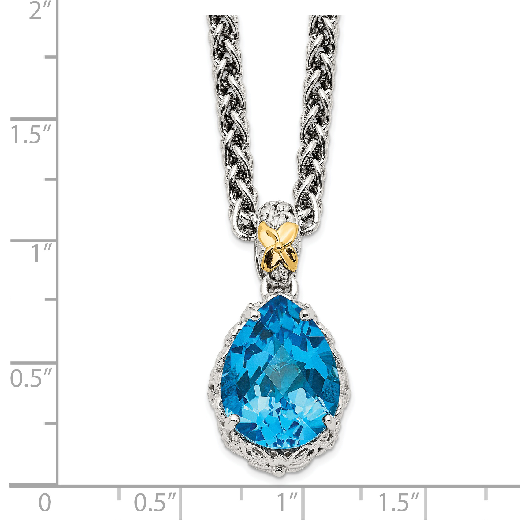 Jewelry Necklaces Gemstone Sterling Silver with 14k Lt Swiss Blue Topaz Necklace