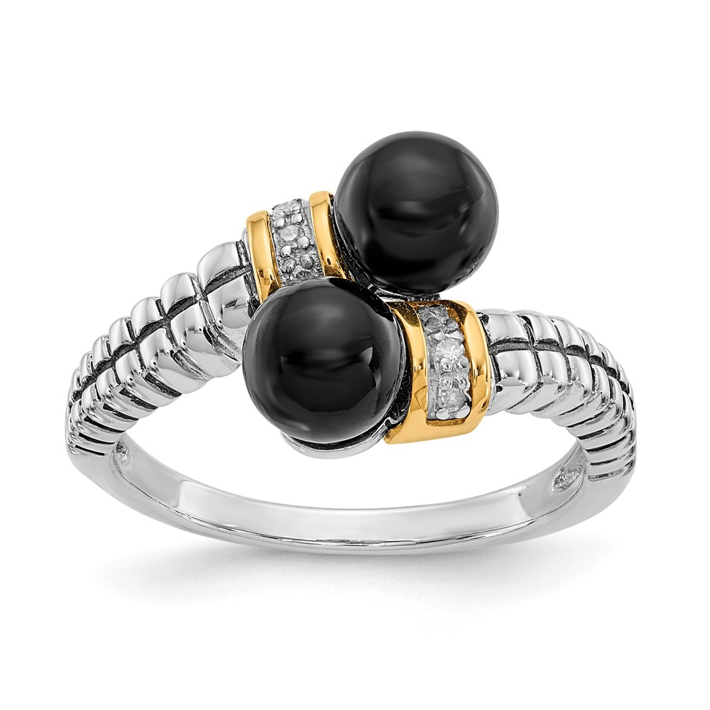 sterling silver w 14k gold black onyx and ring ebay