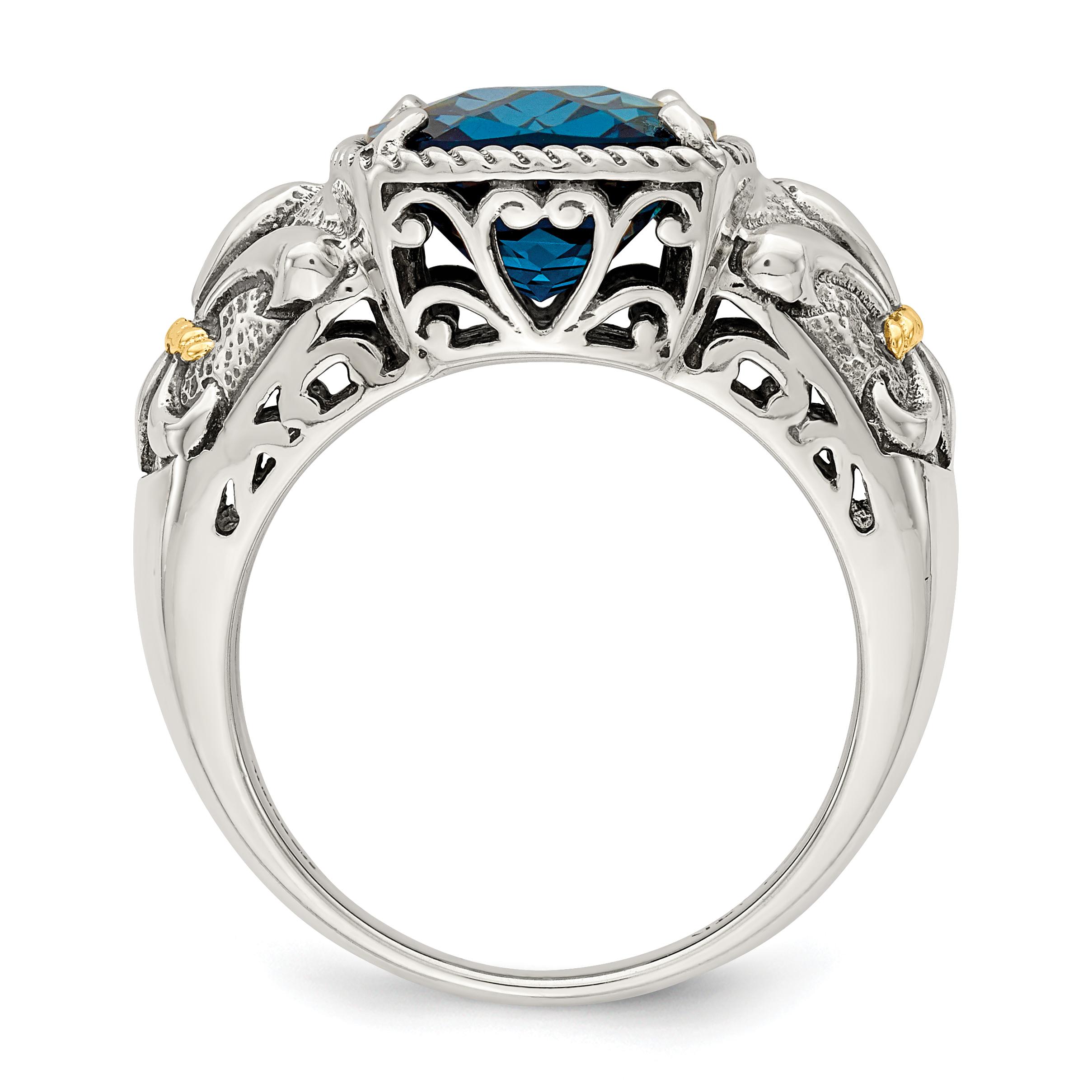 sterling silver w 14k gold london blue topaz ring ebay. Black Bedroom Furniture Sets. Home Design Ideas