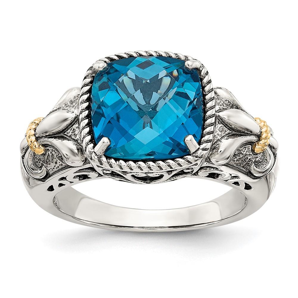 sterling silver w 14k gold blue topaz ring ebay