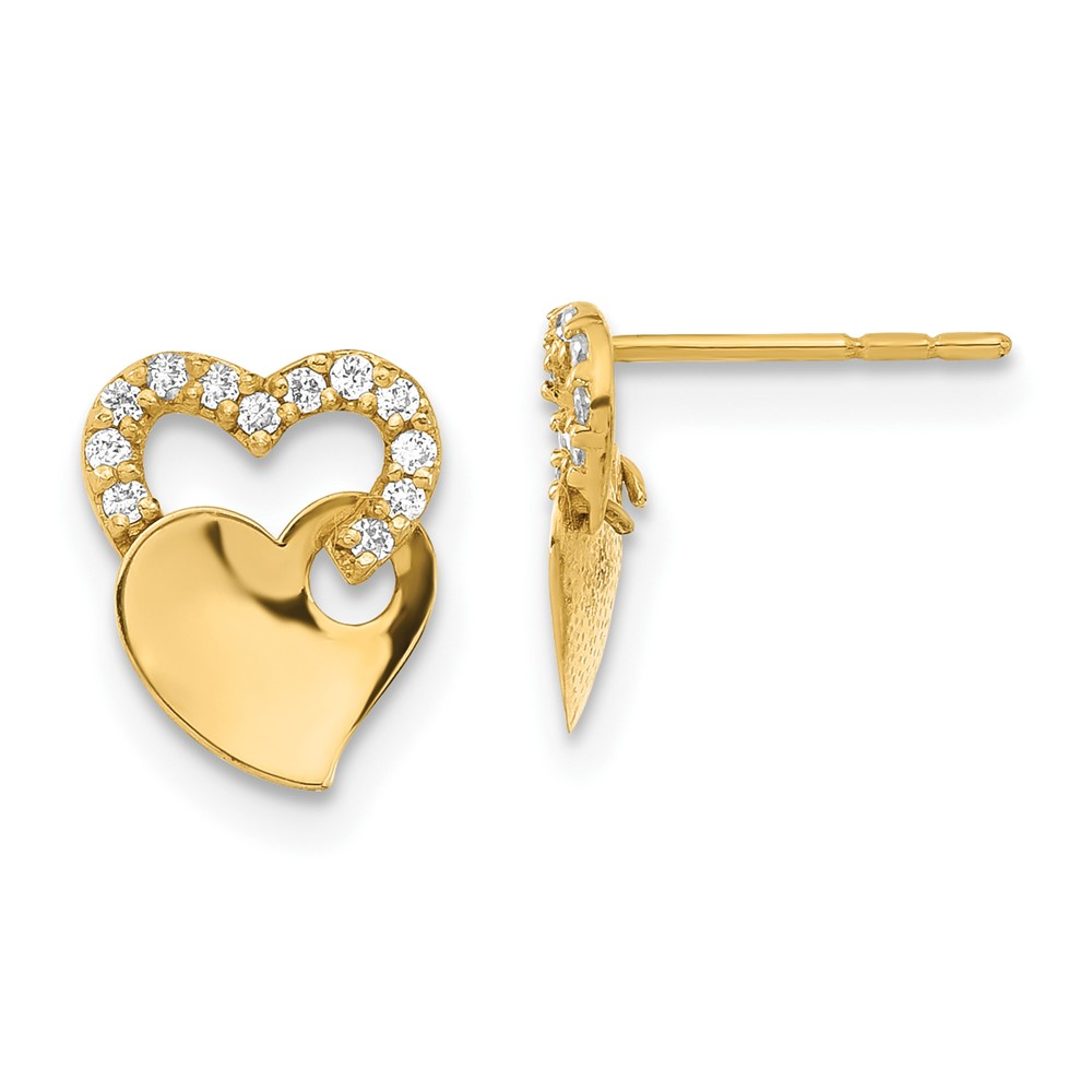 JewelryPot 14k Yellow Gold Childs Synthetic CZ Double Heart Post Earrings w/ Gift Box. (9.5MM)
