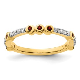 14k Stackable Expressions Garnet and Diamond Ring