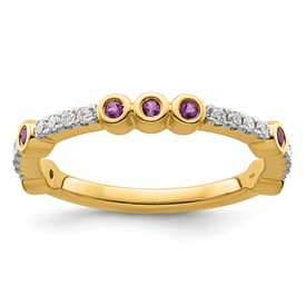 14k Stackable Expressions Amethyst and Diamond Ring